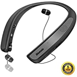 Bluetooth Headphones Speaker 2 in 1,Bluenin Neckband Wireless Headset Wearable Speaker True 3D Stereo Sound Sweatproof Headphones with Retractable Earbuds Built-in Microphone (Titanium Gray)
