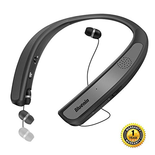 Bluetooth Headphones Speaker 2 in 1,Bluenin Neckband Wireless Headset Wearable Speaker True 3D Stereo Sound Sweatproof Headphones with Retractable Earbuds Built-in Microphone (Titanium Gray) ()