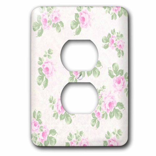 3dRose lsp_120173_6 Vintage Pink Roses Pattern - Rose Flowers On Light Cream Damask - Shabby Chic Sun-Faded Look Floral - 2 Plug Outlet - Floral Outlet Cover