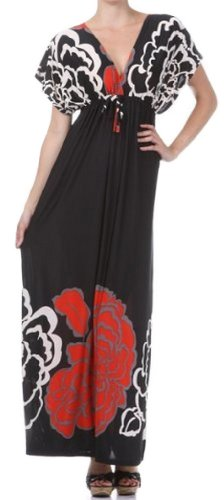 FOCapVBigFlower8809 Big Flower on Solid Black Graphic Print V-Neck Cap Sleeve Empire Waist Long / Maxi Dress (Red, One Size)