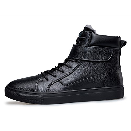 Echtes kurz Strap mit Schwarz Herren Winter Fashion Flach Tape Clubs warm Pik amp; Boots gefüttert Leder Magic Ankle Fell wxaFWAq