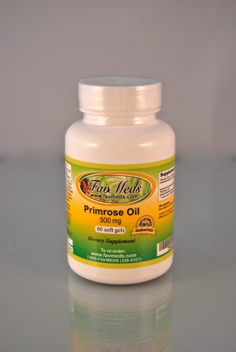 Primrose Oil 500mg, PMS aid, skin, High Quality, Made in USA - 60 Capsules