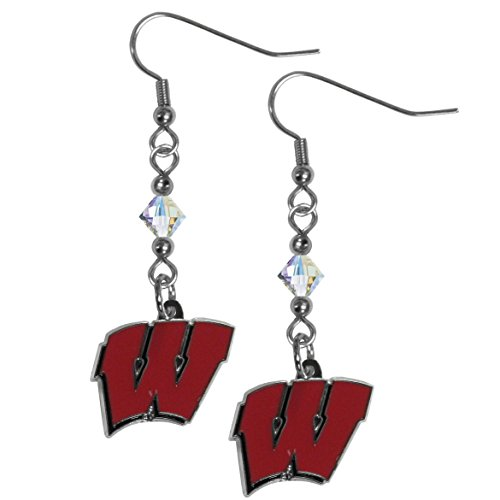 (NCAA Wisconsin Badgers Women's Crystal Dangle Earrings)