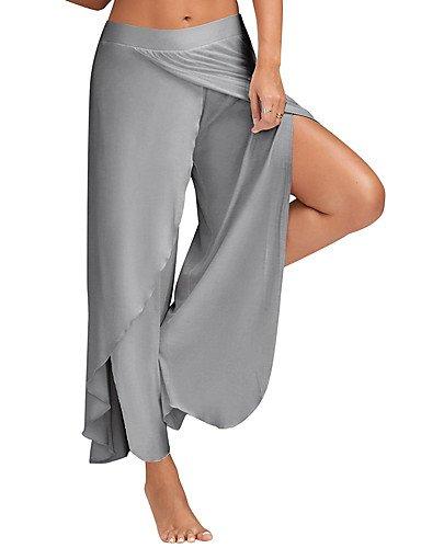 larghi pantaloni tinta unita donna Vita larghi Wine attivi Pantaloni Split YFLTZ alta sportivi da 1Awq415