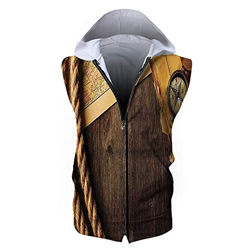Men's Waistcoat Casual Hooded,Compass Decor,Antique Brass Compass and Rope Over ()