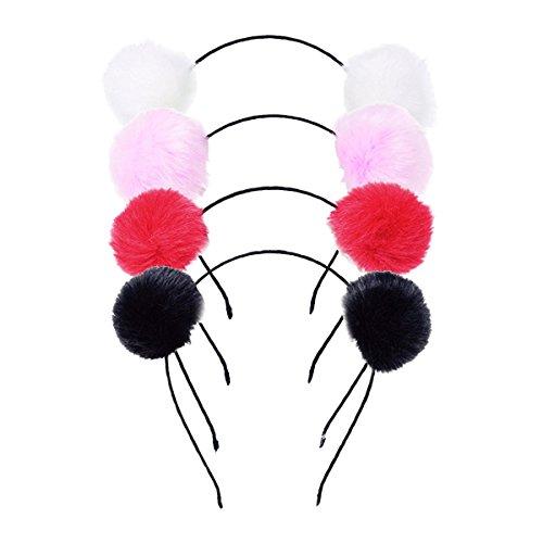 4 Pack Adorable Fluffy Imitation Rabbit Fur Pompom Ball Hair Cat Ears Panda Hair Hoop Headband Costume Accessories ()