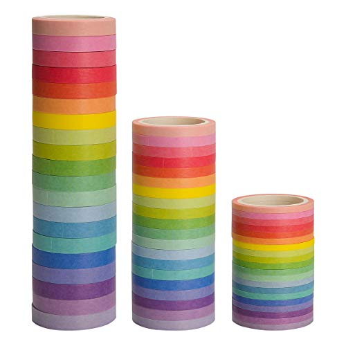 Washi Tape Set 60 Rolls Masking Decorative Tapes Fit DIY Scrapbooking Crafts Wrapping Thin -