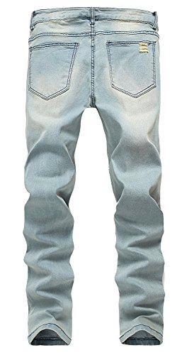 YTD Men's Zipper Biker Jeans Ripped Distressed Slit Denim Slim Stretch Moto Pants (US 28, Blue)