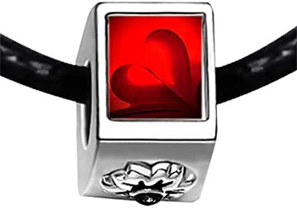 Chicforest Silver Plated Red Hearts Photo Black Crystal Flower Charm Beads Fit Pandora Chamilia Biagi Charm Bracelet