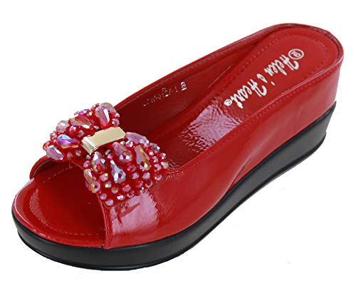 (Helens Heart CFW-8127-50 Slide Sandal with Crystal Bow (7, Red))