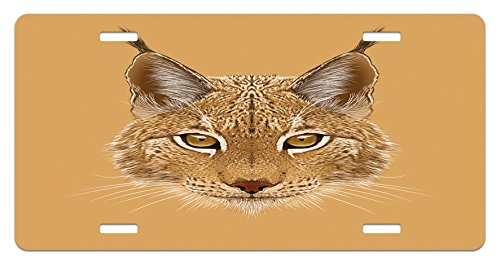 (Lunarable Animal License Plate, Lynx Cat Portrait with Sharp Eyes Angry Wildlife Creature Tropical Kitty Graphic, High Gloss Aluminum Novelty Plate, 5.88 L X 11.88 W Inches, Pale Brown)