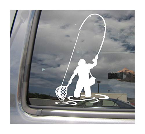Right Now Decals Fly Fishing Fisherman Trout Fish - Cars Trucks Moped Helmet Hard Hat Auto Automotive Craft Laptop Vinyl Decal Store Window Wall Sticker ()