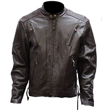 Amazon.com: Mens Vented Retro Brown Leather Jacket with Z/O Lining ...