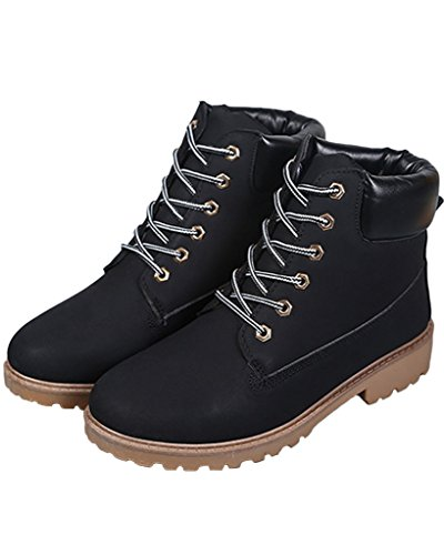 Invierno Otoño Trabajo Botines Mujer Botas Nieve De Calentar deslizante Botas Retro de Minetom Zapatos Lazada Anti Negro CtSxBnqR