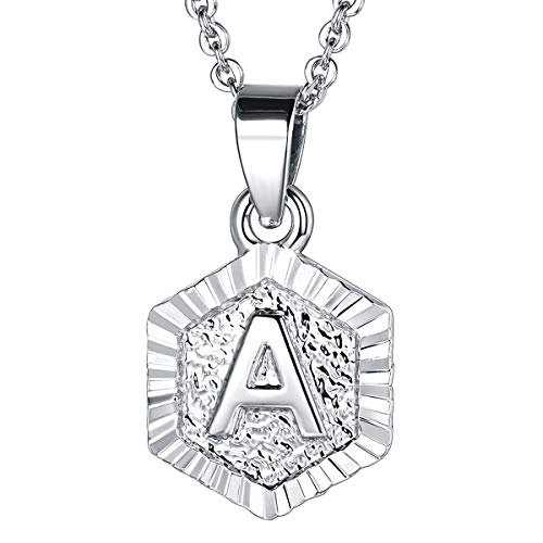 FOCALOOK Monogram Necklace A-Z 26 Letters Pendants Platinum Plated Hexagon Script Initial Jewelry with Stainless Steel 20 Inch Chain, Capital Alphabet Necklaces for Women Girls (Letter A)