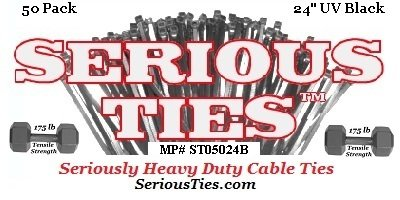 Serious Ties - Extra Heavy Duty Cable Ties (50, 24 Inch/175Lbs/UV Black)