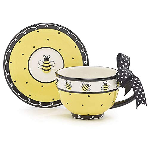 Whimsical Honey Bumble Bee Teacup and Saucer Set Adorable Set for Teas
