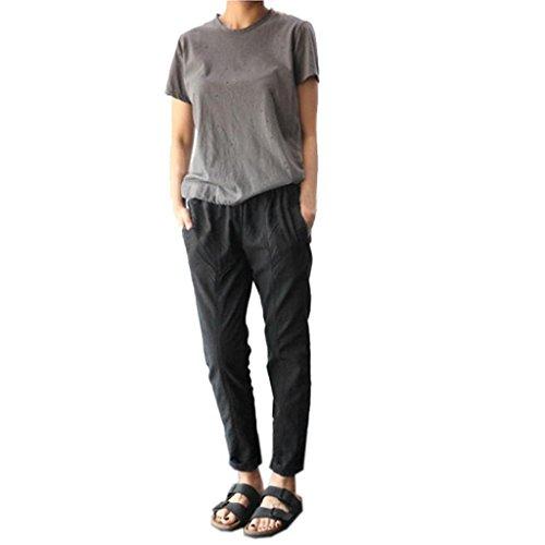 Plus Size Pants for Women, FORUU Linen Harem Baggy Loose Trousers Casual Lady (M, Black)