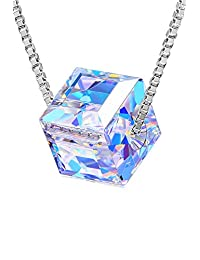 CAT EYE JEWELS Color Changing Swarovski Crystal Necklace 925 Sterling Silver Cubic Zirconia CZ Pendant Gifts Leather Choker Necklaces Jewelry for Women Girls Teen