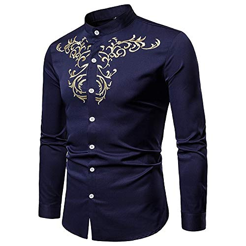 Navy blueee XXL Men's Business Boho Shirt  Tribal Embroidered