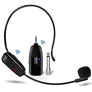 Wireless Microphone Headset, EASJOY UHF Microphones System Transmitter & Receiver,2 in 1 Mic for Voice Amplifier,Stage Speaker,Recording, Speaking,Online Chatting-Not Suitable for iphone & Smartphones