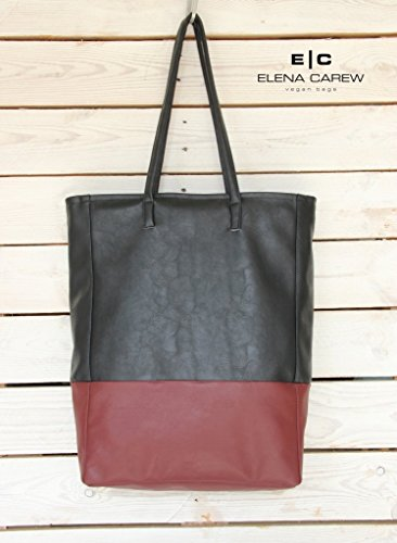17 Shopper (Vegan Leather Tote Bag 17 inch, Waterproof Shoulder Bag Women, Shopper bag Black)