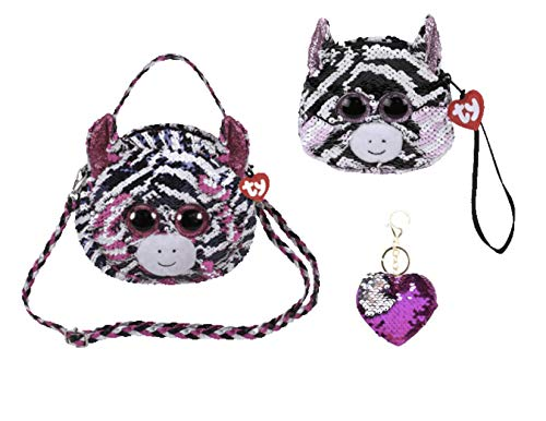 ReBL LLC Bundle of TY Fashionable Gear Color Changing Glitzy Glam Sequins Plush Purse and Matching Wristlet with One Heart Or Star Sequin Keychain (Zoey)