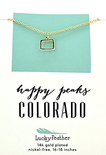 """Lucky Feather Colorado Shaped State Necklace, 14K Gold-Dipped Pendant on Adjustable 16""""-18"""" Chain"""