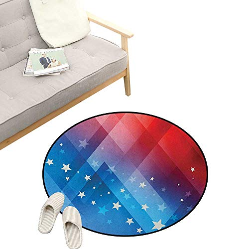 4th of July Custom Round Carpet ,Independence Day Themed Abstract Diamond Rhombus with Star Liberty Freedom, The Custom Round Non-Slip Doormat 39