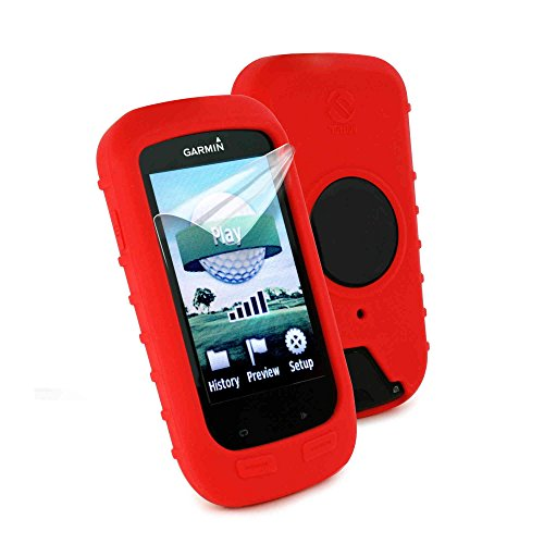 (Tuff-luv Silicone Gel Skin Case & Screen Cover for Garmin Golf Approach G8 - Red)