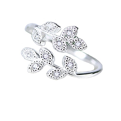 Helen de Lete Full Diamond Leaves Sterling Silver Open Ring (Leaf Ring compare prices)