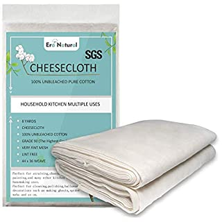 8 Yards 100% Unbleached Cotton Cheesecloth, Ultra Fine Cheese Cloths for Straining, Grade 90 Cheese Cloth Weave Fabric Filter for Cooking, Baking(SGS Certified)