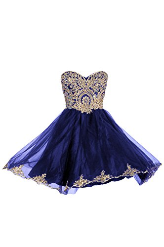 99Gown Prom Dresses Short Lace Prom Homecoming Dresses Affordable Beautiful Sparkly Dress, Color Royal (Waist Beaded Bodice)