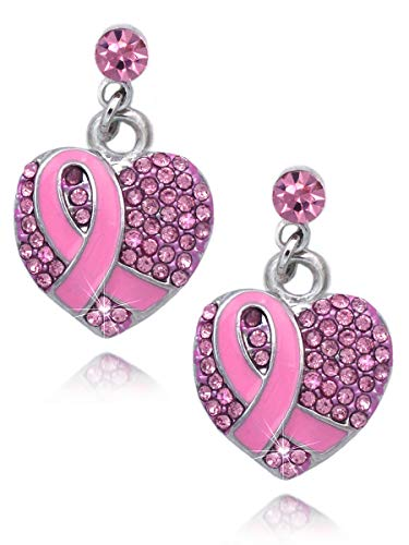 Support Breast Cancer Awareness Pink Ribbon Heart Earrings (Pink Pave Heart Dot Dangle)