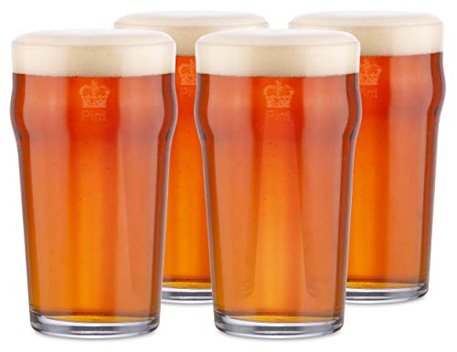 KegWorks British Pub Style Imperial Pint Glass with Etched Seal Set of 4 Gift Boxed