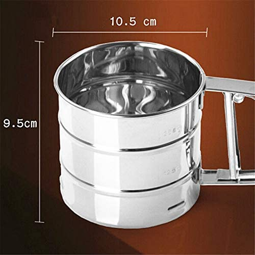 Hofumix Flour Sifter Farina Sieve Stainless Steel Powder Shaker Sieve Crank Cup Kitchen Utensil Mesh Practical Gadgets with Measuring Scale Mark for Baking Cooking 2PCS
