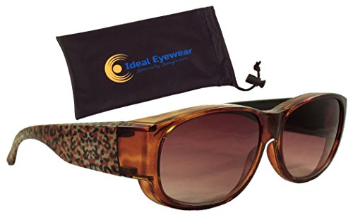 Animal Print Fit Over Sunglasses by Ideal Eyewear - Wear Over Prescription Glasses - Over Eyeglasses - Light and Comfortable - Case Included