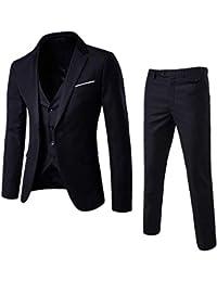 Mens 3-Piece Suit Notched Lapel One Button Slim Fit Formal Jacket Vest Pants Set