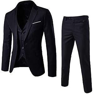 Best Epic Trends 414O-PQSLaL._SS300_ Cloudstyle Mens 3-Piece Suit Notched Lapel One Button Slim Fit Formal Jacket Vest Pants Set
