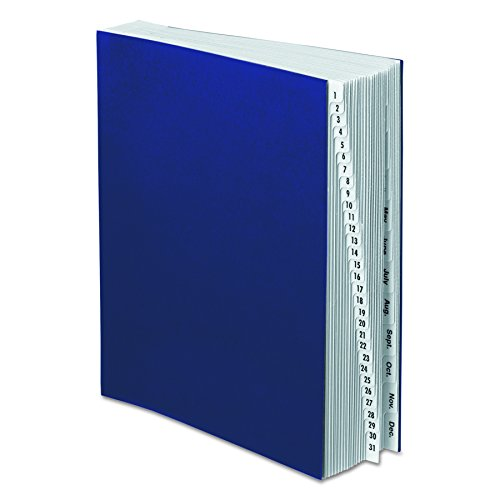 Pendaflex DDF5OX Expanding Desk File, 1-31/Jan-Dec, Letter, Acrylic-Coated Pressboard, Dark Blue