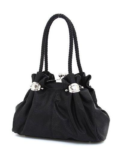 Soft Faux Leather Kiss Lock Closure Large Satchel Handbag (Black ...