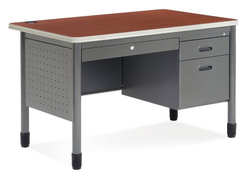 Pedestal Table 48in Round Top - OFM Teachers Desk with Laminate Top - Durable Locking Utility Desk, 30