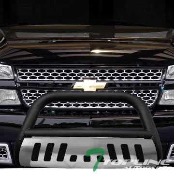 Topline Autopart Matte Black Bull Bar Brush Push Front Bumper Grill Grille Guard With Brush Aluminum Skid Plate 99-07 Chevy Silverado / 00-06 Suburban / Tahoe ; 99-07 GMC Sierra / 00-06 Yukon 1500 Gmc Sierra Brush Guard