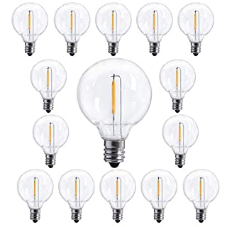15 Pack G40 LED Replacement Bulbs, E12 Screw Base LED Clear Globe Shatterproof Light Bulbs for Outdoor Patio String Lights, 0.6 Watt Clear Light Bulbs