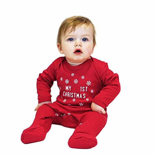Baby Clothes Set, PPBUY Baby Girls Boys Infant Letter Long Sleeve Christmas Clothes Jumpsuit Romper (6M, Red)