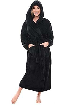 Alexander Del Rossa Womens Fleece Robe, Long Plush Hooded Bathrobe, Small Medium Black (A0304BLKMD)