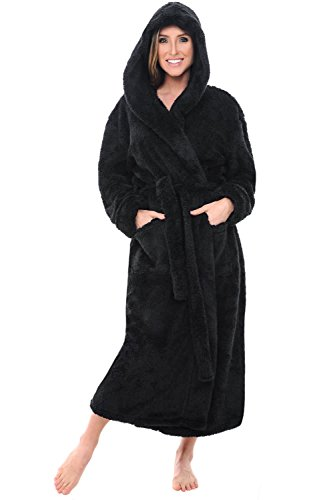 Alexander Del Rossa Womens Fleece Robe, Long Plush Hooded Bathrobe, Small Medium Black (A0304BLKMD)