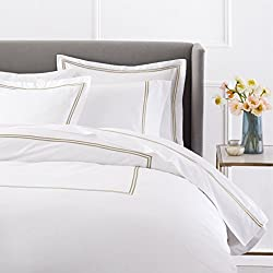 Pinzon 400-Thread-Count Egyptian Cotton Sateen Hotel Stitch Duvet Cover - Full/Queen, Taupe