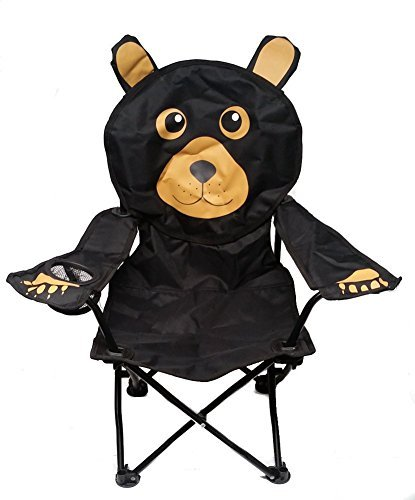 Wilcor Kids Black Bear Folding Camp Chair with Cup Holder and Carry Bag by Wilcor