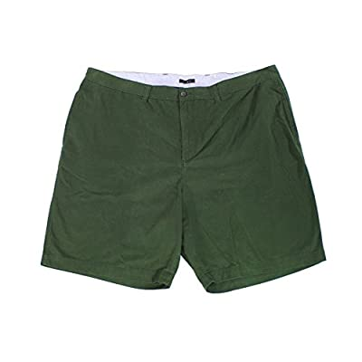 Cheap Club Room Dark Olive Mens 50B Flat-Front Chino Shorts Green 50 free shipping